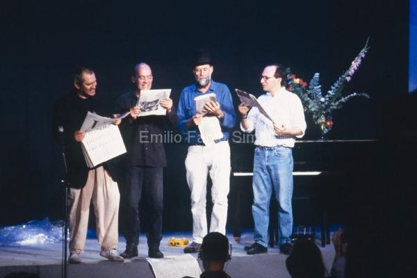 """George Brecht. """"Incidental Music"""". Milano Poesia 1989. Performed by Ben Vautier, Geoffrey Hendricks, Al Hansen, Ken Friedman."""